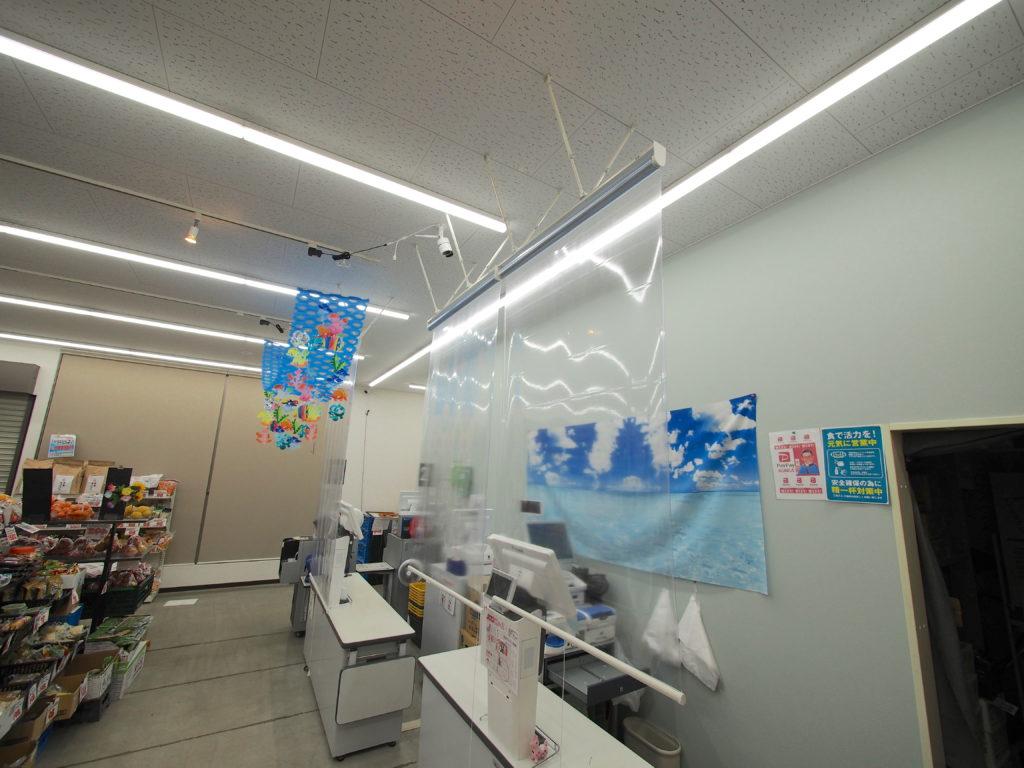 透明ロールスクリーン -コロナ対策-飛沫感染防止-レジまわり-施工例-町田市