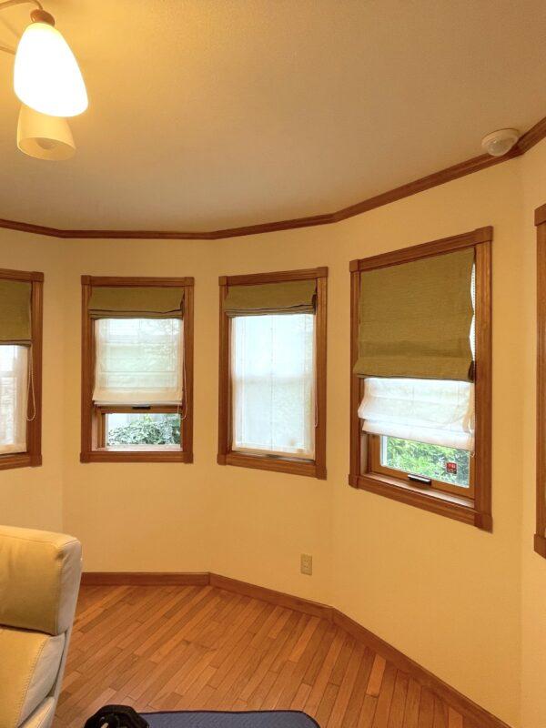 町田市 N様 素敵なボウウィンドウの5連窓にダブルシェード